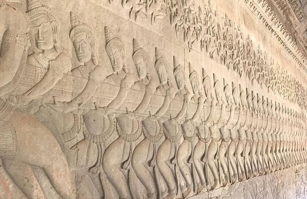 Stone carvings at Angkor Wat, Near Siem Reap, Cambodia.