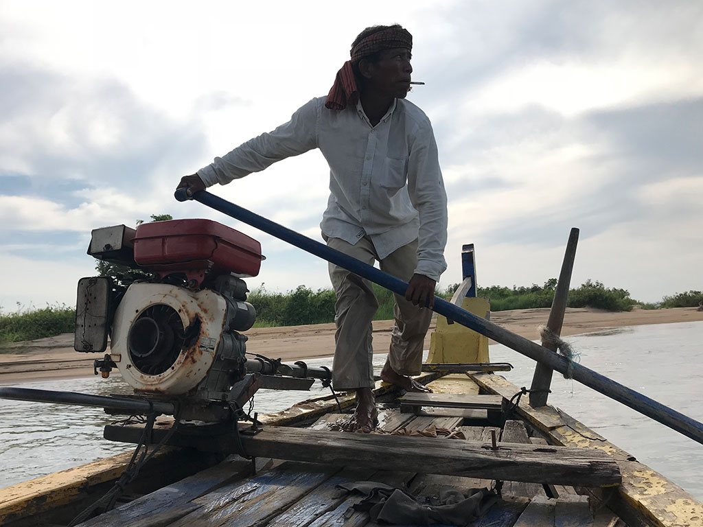 Our boatman on the Mekong River, Kampi, Cambodia.