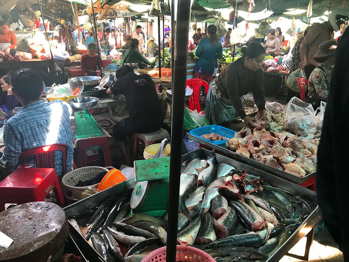 The busy food market, Phnom Penh, Cambodia.