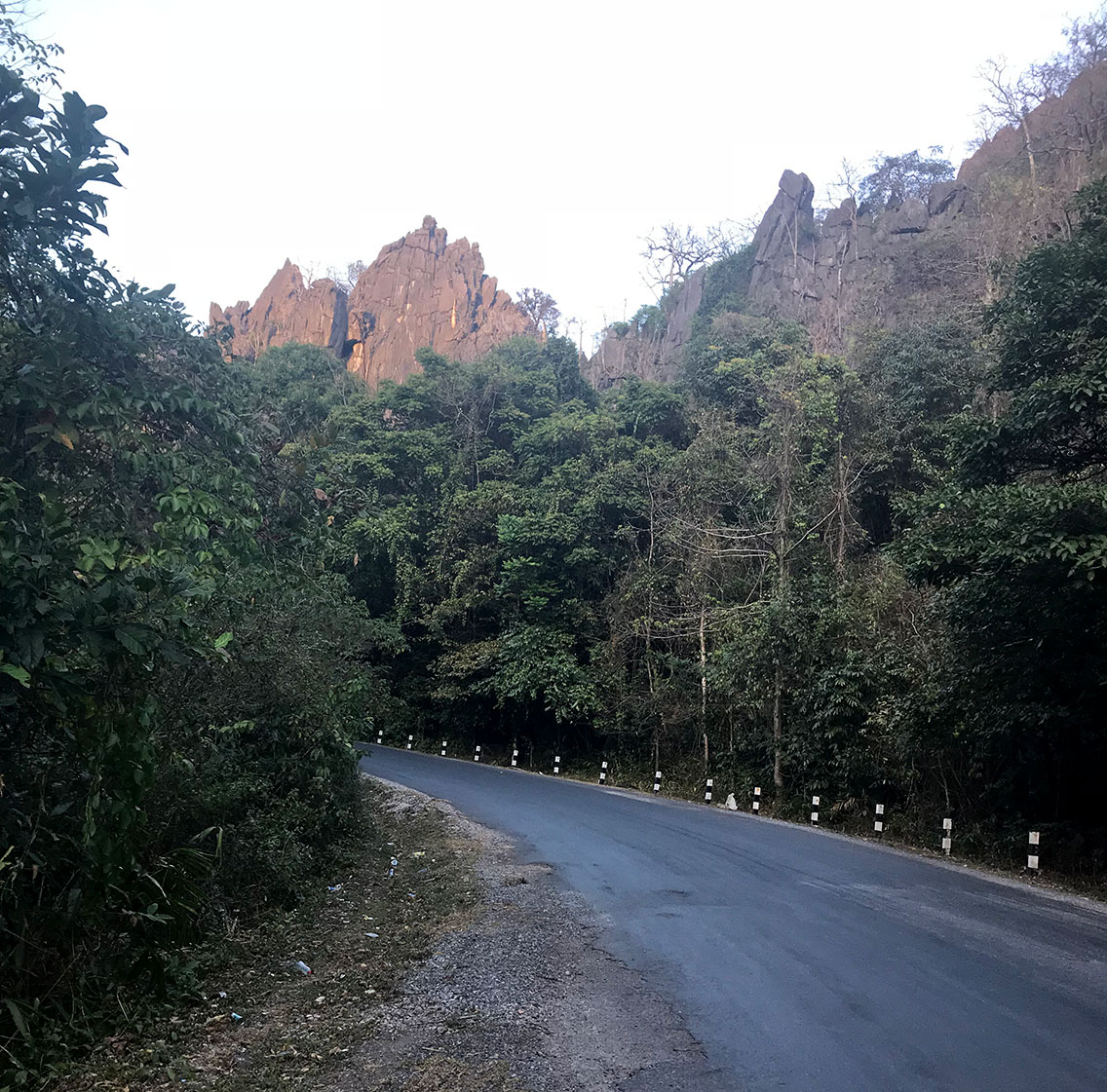 Limestone crags along route 8 , Ban Na Hin, Laos.
