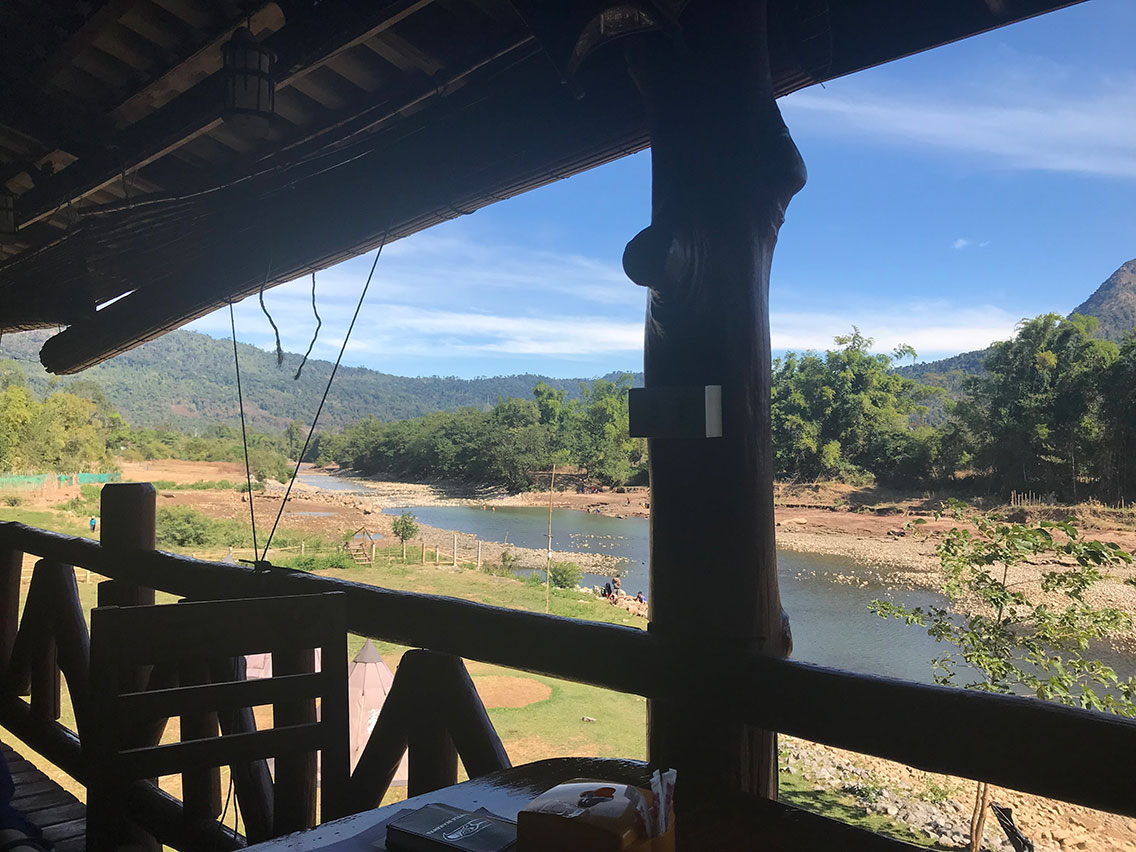 View of river from restaurant at Sainamhai Resort, Ban Na Hin, Laos.