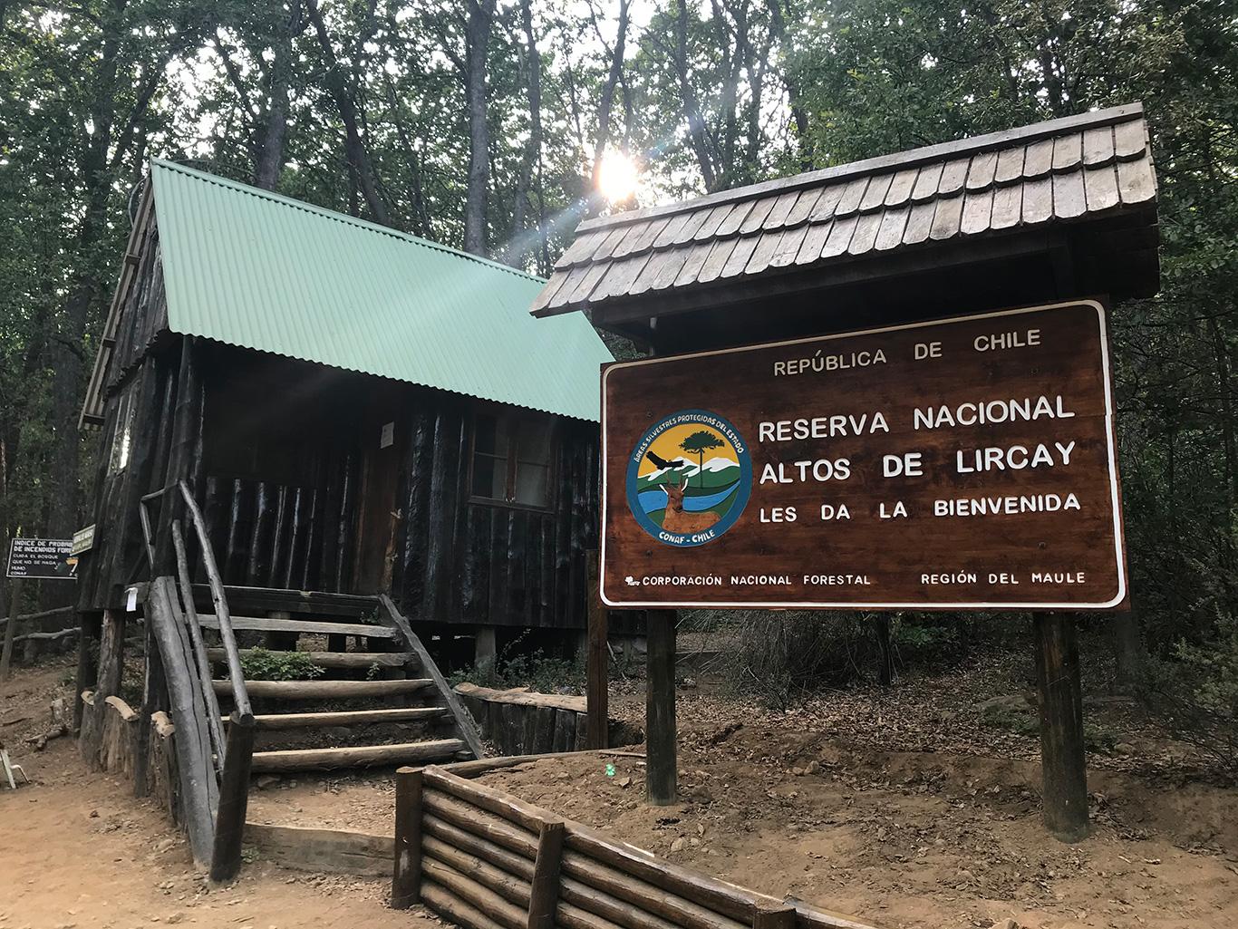 Sign at Altos De Lircay, Altos De Lircay, Chile.