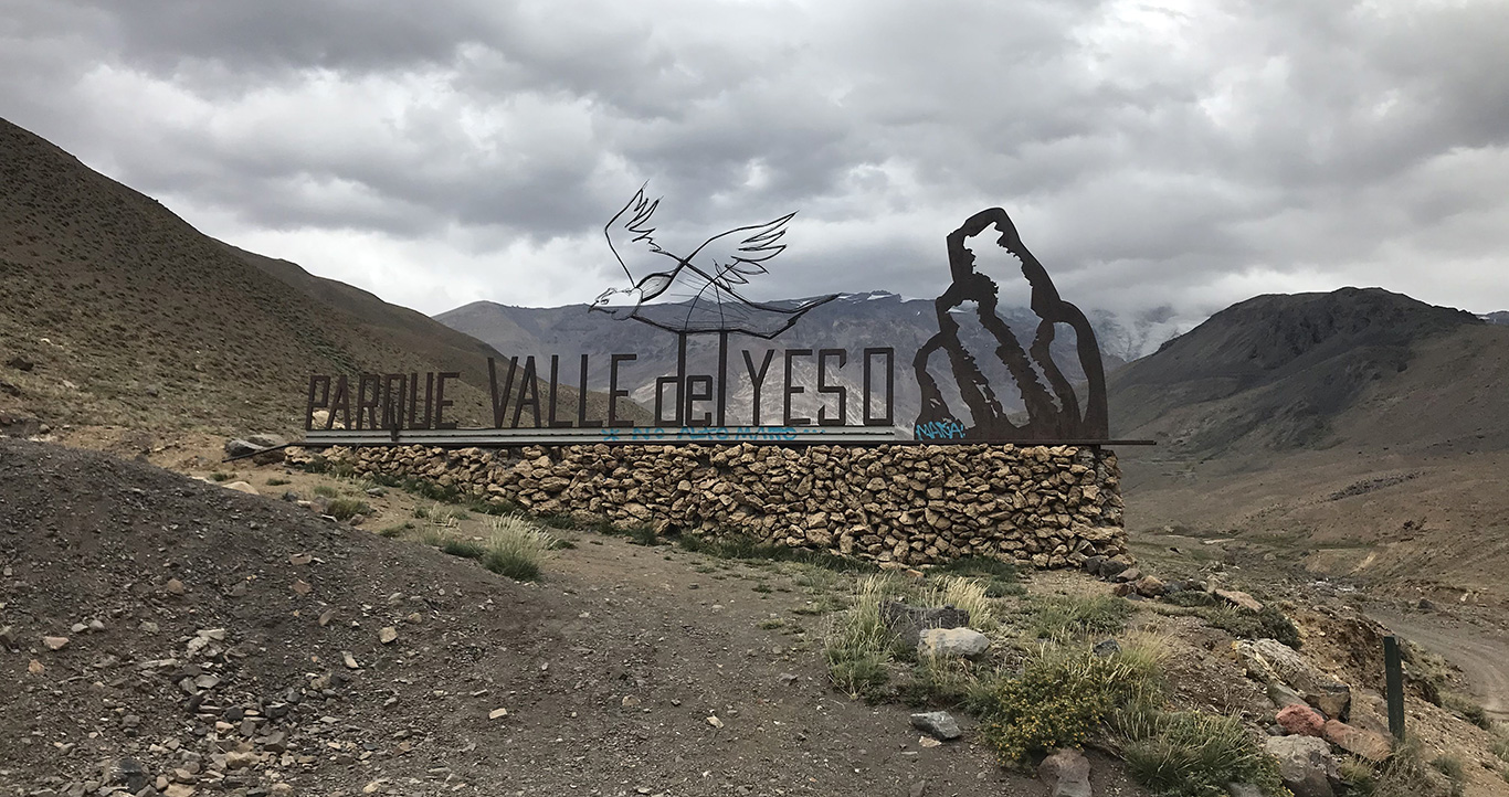 Sign at entrance to Parque Valle del Yeso, Valle del Yeso, Chile.