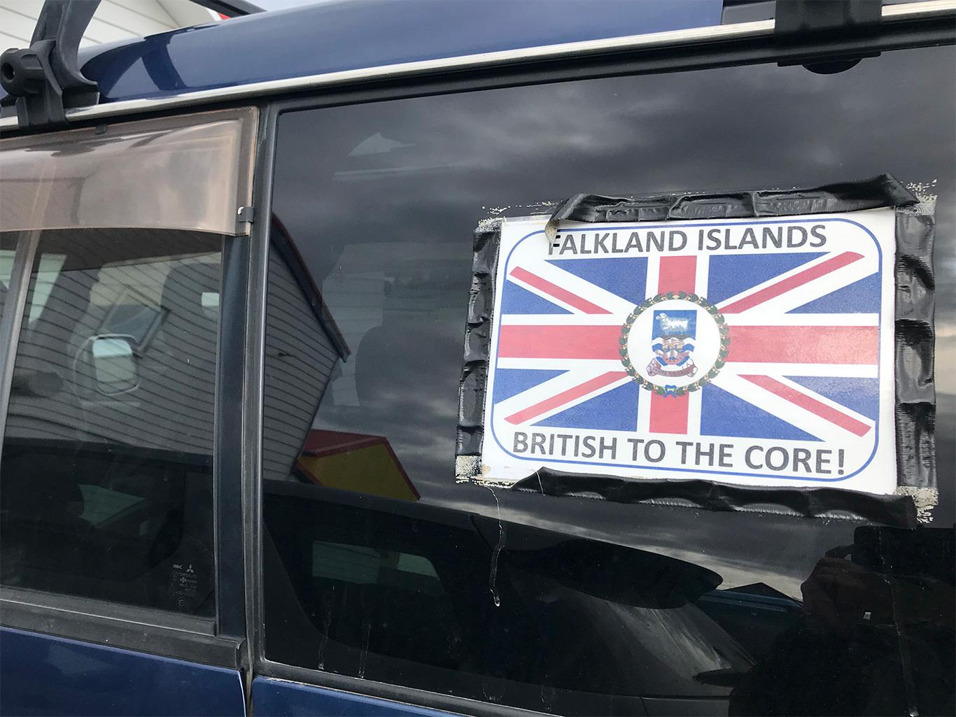 Sign on jeep, Port Stanley, Falkland Islands.