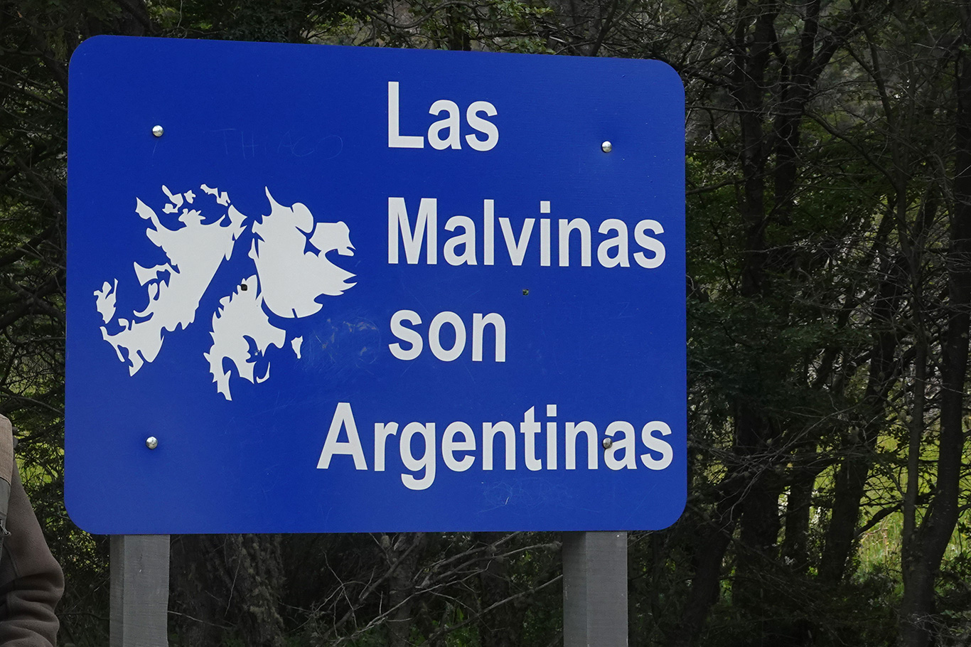 Malvinas sign in Tierra Del Fuego, Tierra Del Fuego, Argentina.