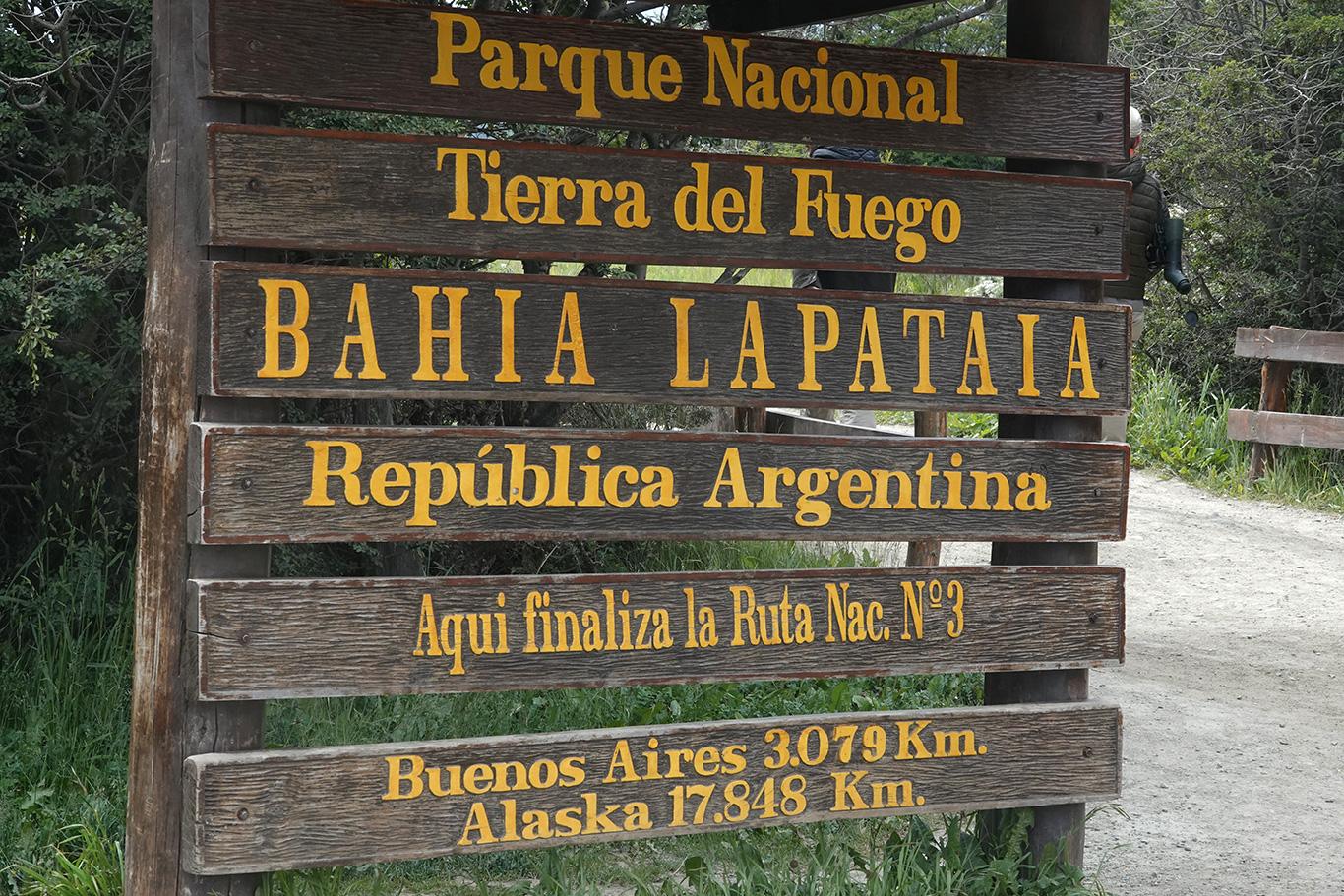 Sign at Tierra Del Fuego National Park, Tierra Del Fuego, Argentina.